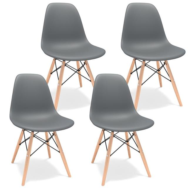 Grey 4Pcs/Set Dining Chairs Modern Leisure Bar Chair with Solid Wood Legs Office Chair Home Furnitures Comference Chairs 2