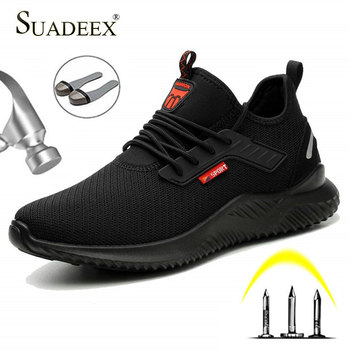 SUADEEX Safety Anti-Smashing Shoes Steel Toe Work Shoes Puncture Proof Men Indestructible Safety Boots Breathable Work Sneakers sitaile breathable mesh steel toe safety shoes men s outdoor anti smashing men light puncture proof comfortable work shoes boot