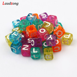 100PCS Mixing Color Sequined Square Acrylic Letter Beads For Fashion Jewelry Bracelet Necklace Diy Making Spacer Beads Wholesale