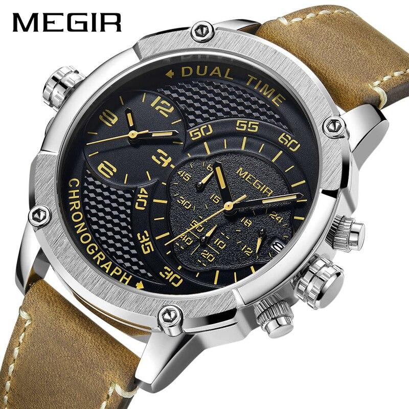 MEGIR New Design Chronograph Sports Watch Fashion Luxury Watches For Men Dual Time Zone Watch Relogio Masculino Men Quartz Watch