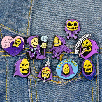 Masters of the Universe Skull Badge Punk Skeleton purple hood Enamel Pin Cartoon Brooch Backpack Jewelry Fashion Accessories image