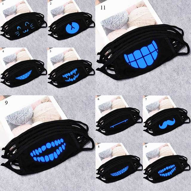 Lucky Bear Woman Men Black Mask Mouth Cotton Windproof Anime Cartoon Kpop Glow In Dark Skull Mouth Masks Unisex Party Masks Hot 1