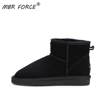 MBR FORCE Fashion Winter Women's Snow Boots Cow Split Leather Ankle boots Woman Warm winter boots Genuine Leather black shoes allbitefo natural genuine leather snake texture cow leather women ankle boots fashion sexy motorcycle boots girls winter shoes