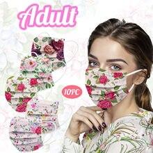 Masques en tissu jetables pour femmes, 10 pièces, pour le visage, 3 couches de protection, respirants, pas de décoration