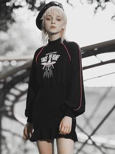Image 2 - 펑크 레이브 소녀의 펑크 스타일 외계인 집에 데려다 인쇄 긴 소매 flounced 랩 드레스 여성 캐주얼 블랙 드레스