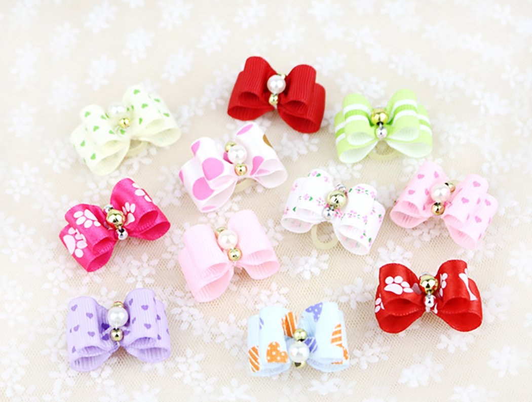 Small Dogs Bows Hair Grooming Puppy Accessories Supplies For Pets Hair Bands Grooming Yorkshire Table Bows Honden Strikjes