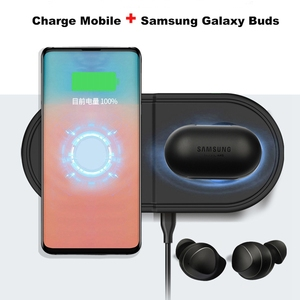 Image 4 - Fast QI Wireless Charger Pad for Samsung Galaxy Buds Watch Active Gear S2 S3 S4 Sport 2 In 1 Mobile Phone Quick Wireless Charge