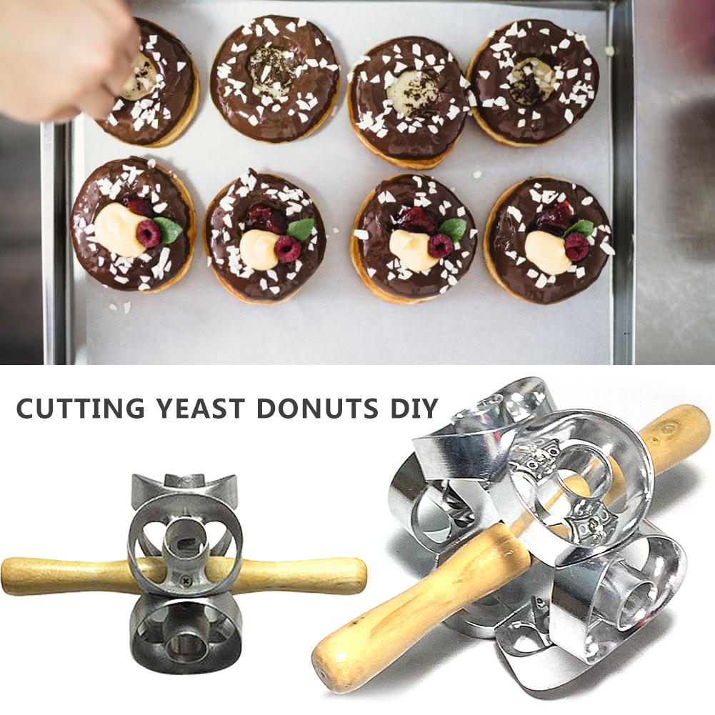 Revolving Donut Cutter Maker Mold Pastry Dough Metal Baking Roller Kitchen Tools Donut Mold image