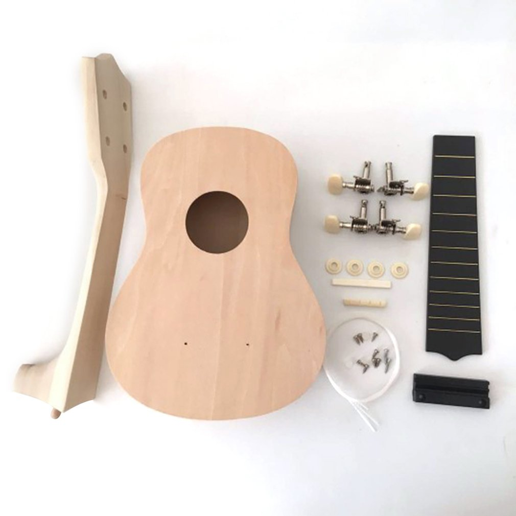 Portable Size 21 Inch Ukulele DIY Kit Hawaii Guitar Handwork Painting Wooden Music Toys Musical Instruments Toys For Kids