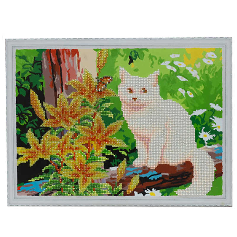 Meian Алмазная краска частичная животные кошка настенная художественная работа для детей 2019 Новое поступление цветы для пейзажа краски по номерам
