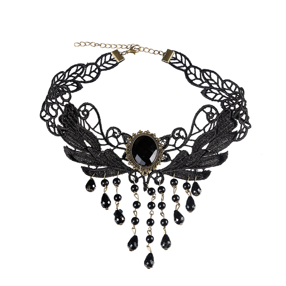 Women Black Lace Water Drop Pendants Necklace Jewelry Accessories Classical Chain 2020