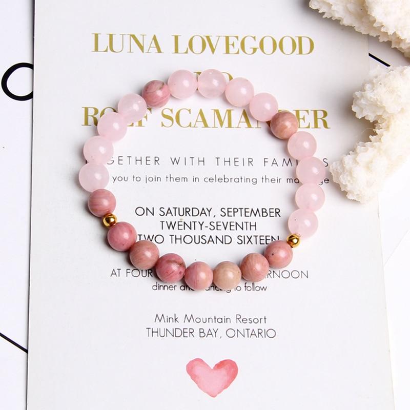 Women girl rose Pink crystal beads bracelet for ladies natural pink Rhodochrosite rhodonite stone beads bracelet jewelry gifts