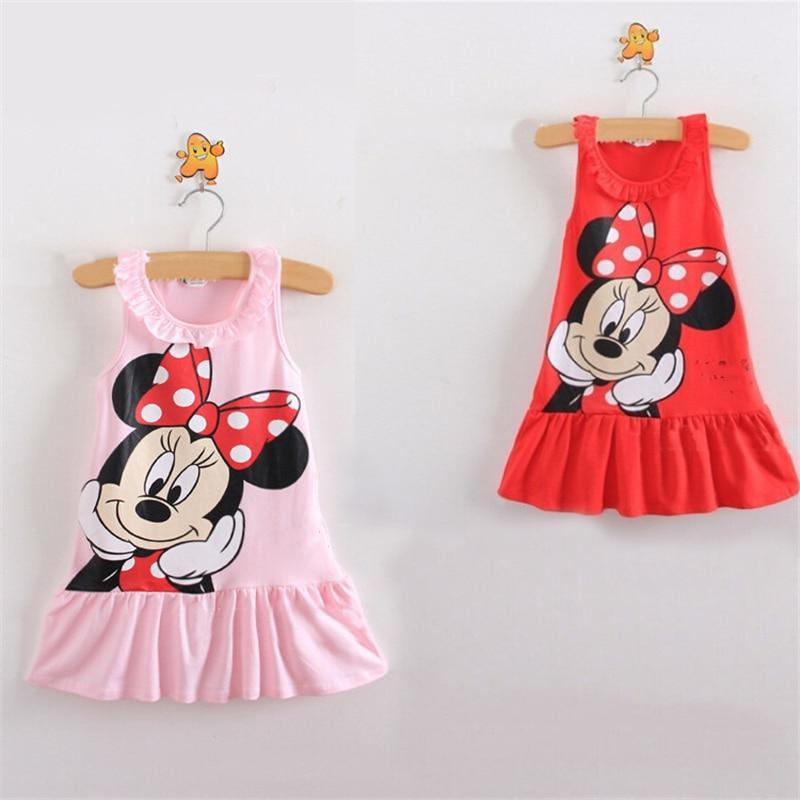Baby Girls Dress For Baby Girls Cartoon Minnie Lovely Dress Striped Short Sleeve Princess Dress Kids Girls Clothes
