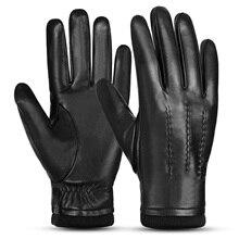 Deportes al aire libre cálido lana forrada Vintage vestido diario guantes de conducción piel de oveja guantes de cuero para hombres invierno cálido guantes espesantes