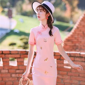 Sexy High Split Summer New Satin Qipao Women Elegant Mandarin Collar Cheongsam Print Flower Pink Short Sleeve Chinese Dress new red embroidery flower female modern cheongsam elegant mandarin collar chinese style dress cotton long sleeve qipao l xxl