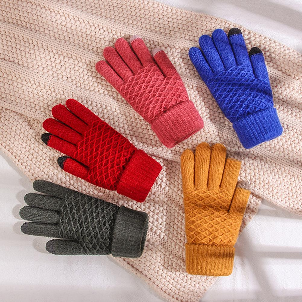 3 Pairs Texting Gloves Warm Touchscreen Gloves Stretch Knitted Mechanic Gloves Soft Winter Gloves Snowflake Pattern