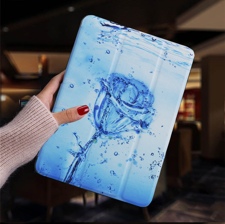 Ice Rose White Tablet case for Apple iPad 10 2 2019 iPad 7 7th Generation Flip Stand Case Trifold