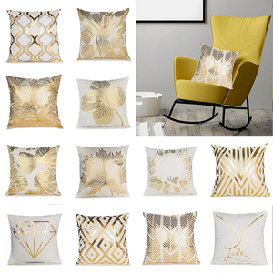 Gold Leaves Print Pillow Cover Home Cotton Pillowcase Cushion Cushion Decorative Cushions for Sofa Seat Covers Throw Pillow Case