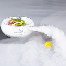 Bols à salade de glace sèche, design artistique en verre, cuisson au plomb, bol creux, délicatesse moléculaire, vaisselle créative