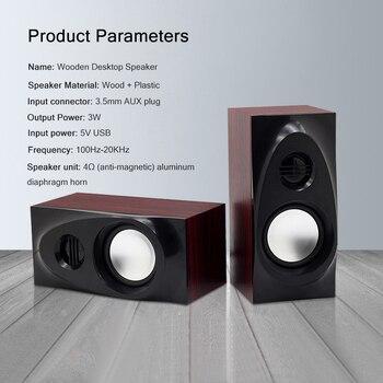 Wooden Desktop Speakers 3.5mm AUX Input USB Power Computer Speakers for Laptop Desktop Phone Audio Loudspeaker 5