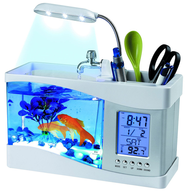 Mini Fish Tank Desktop Fish Tank Aquarium USB Multi-functional  Fish Bowls LCD Display Screen Calendar Clock Aquarium Tank  D30 2