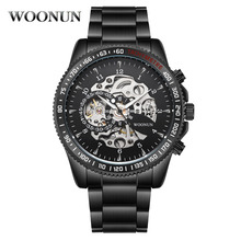 Zegarki mechaniczne dla mężczyzn moda Steampunk zegarki męskie zegarki ze stali nierdzewnej zegarki automatyczne mężczyźni Skeleton zegarki Relogio Masculino tanie tanio WOONUN Składane zapięcie z bezpieczeństwem 24cm 3Bar Moda casual Automatyczne self-wiatr 0866003 46mm Okrągły Nie pakiet