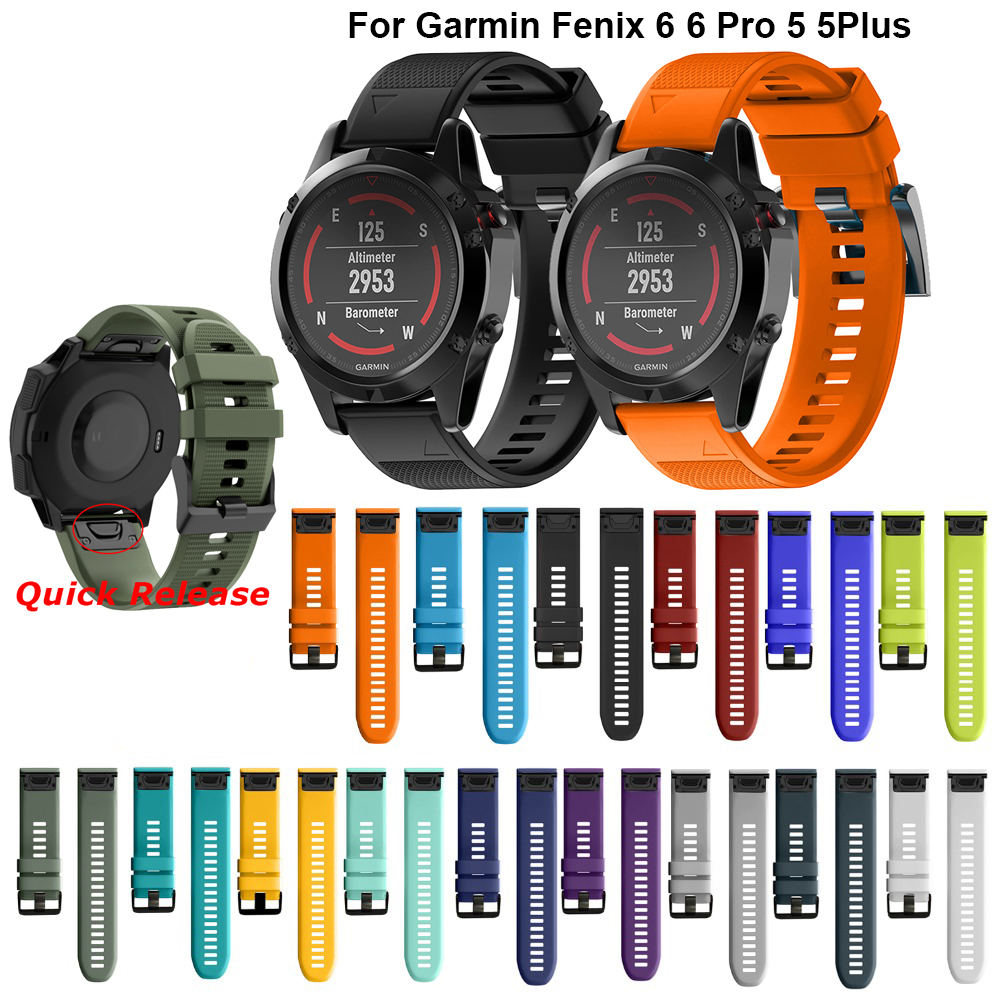 26mm Sport Silicone Watchband Wriststrap For Garmin Fenix 6X 6 6S Pro 5X 5 5S Plus 3 HR 20 22mm Easy Fit Quick Release Wirstband