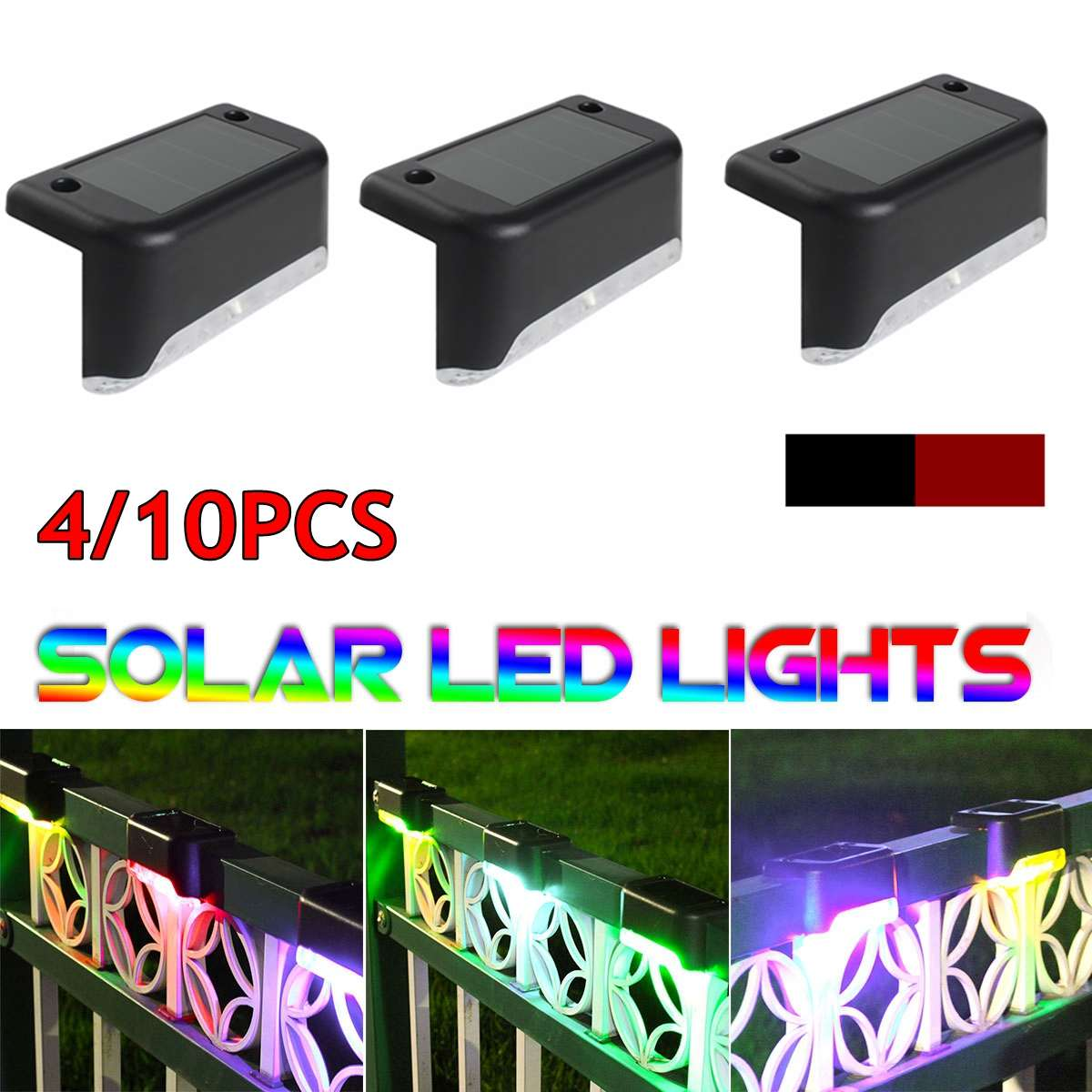 4/10PCS LED Solar Path Stair Outdoor Colorful Light Modern Garden Nightlight Energy Saving Light Yard Wall Landscape Lamp