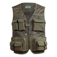 Жилетка рыболовная с несколькими карманами, быстросохнущая дышащая сетчатая куртка для спорта на открытом воздухе, нейлоновая для фотосъе...