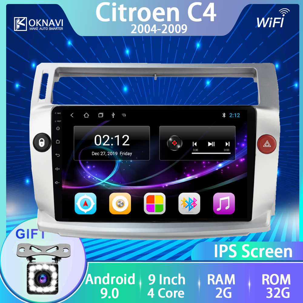 For Citroen C4 C-Triomphe C-Quatre 2004-2009 Car Radio Multimedia Video No 2 Din Dvd Player Android 9.0 GPS Navigation Accessory