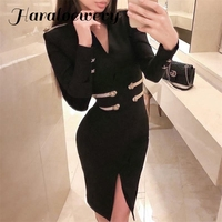 Sexy Bodycon Short Dress Women Elegant Celebrity Evening Party Dress Long Sleeve Black Split Office Lady Vestidos 2019