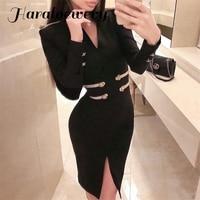 Sexy Bodycon Short Dress Women Elegant Celebrity Evening Party Dress Long Sleeve Black Split Office Lady Vestidos 2019