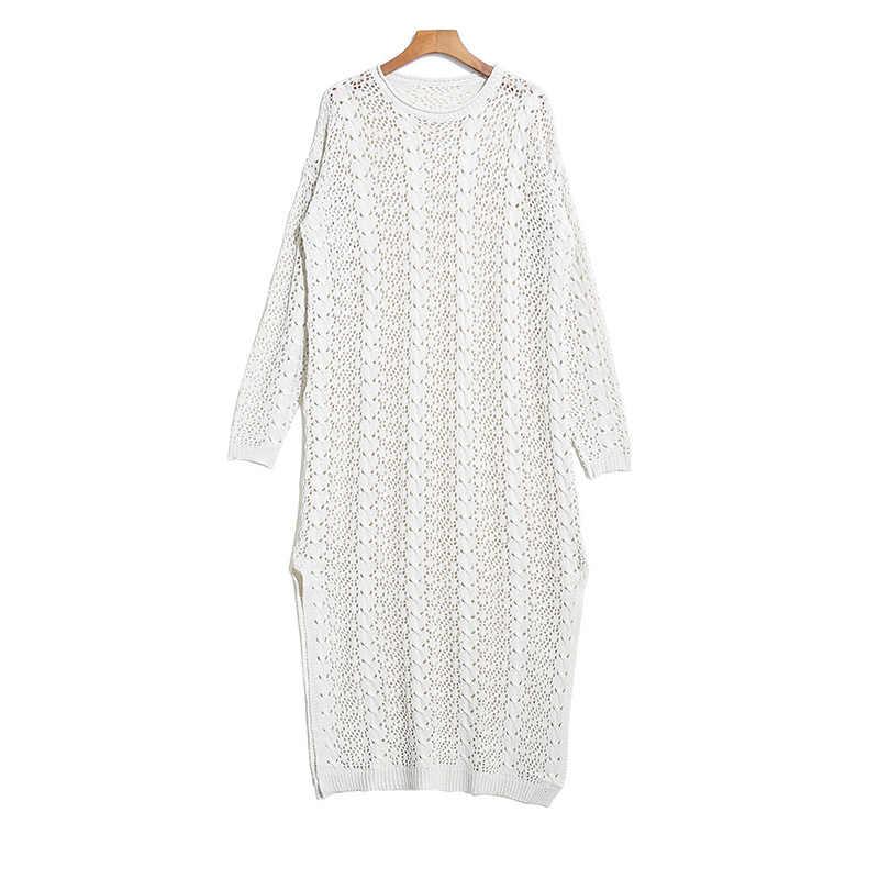 XITAO 2019 осеннее Новое перспективное сексуальное трикотажное платье для женщин Сплит Длинные женские платья полые с длинным рукавом женская одежда WLD2768
