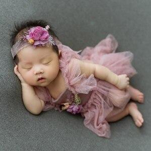 Niemowlęta sesja zdjęciowa kostiumy stroje czapka dla niemowląt + sukienka + nakrycia głowy zestaw noworodka fotografia rekwizyty dziewczyny sesja zdjęciowa kostium