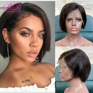 Bd 13x6 laço perucas de cabelo humano curto barato onda natural pixie corte bob perucas peruano remy do cabelo 150% densidade diy seu próprio estilo