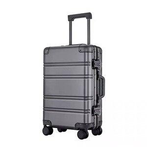 Image 2 - Alle aluminium magnesium legering trolley koffer mannen vrouwen 20/24 inch rolling bagage universele wiel boarding metal wachtwoord doos