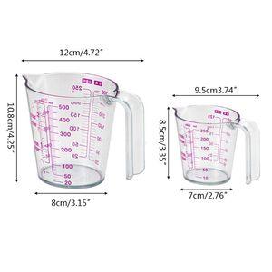 250/500 мл Градуированный прозрачный пластиковый мерный стаканчик для кувшина для заливки носика контейнер для измерения жидкости кухонные п...