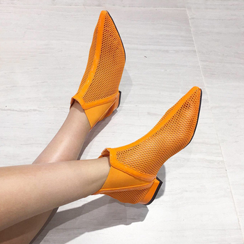 Orange Shoes Women Ankle Boots Casual Low Heel Pointed Toe White Booties Fashion Mesh High Heel Boots Womens Fall Boots msfair women boots 2018 hot selling crystal ankle boots women shoes pointed toe high heel boot shoes square heel boots for girl