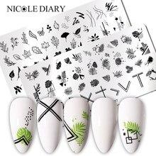 Nicole diário marple folha prego placas de carimbo linha stripe imagem transferência de carimbo modelos sexy menina impressão estêncil ferramenta