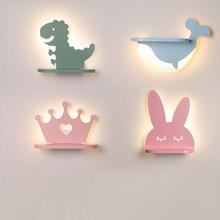 LED Wall Lamp Modern Cartoon Children's Kid Bedroom Lighting Creative Sconces Cute Pink Dinosaur Warm Bedside Indoor Decor Light