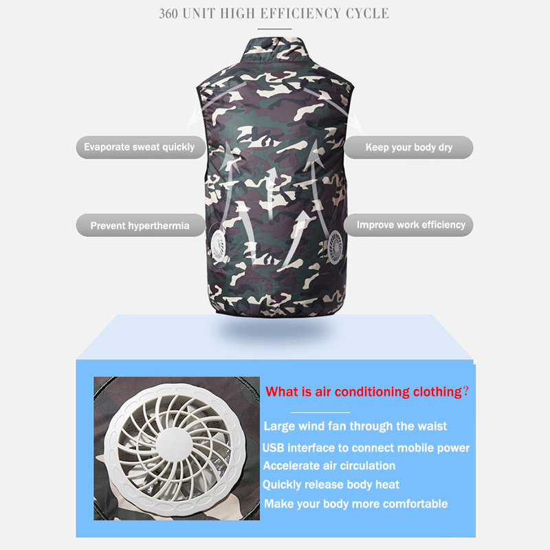 Image 4 - New USB Fan Cooling Hiking Vest Fishing Cycling Vest Air Conditioning Work Outdoors Quick Cooling Vest Summer Cooling Men/womenHiking Vests   -