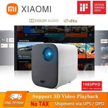 Xiaomi projetor inteligente para casa mini 3d 500 ansi lumens 1080p dlp dolby caixa de tv áudio foco automático correção keystone vertical
