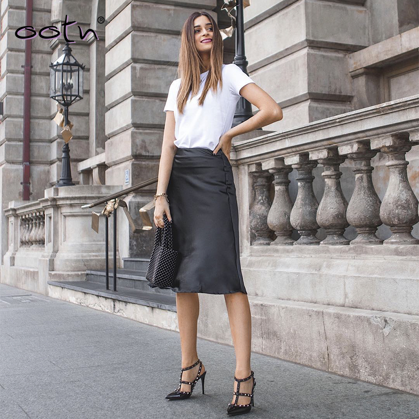 Streetwear Black Slim Midi Skirt Satin Skirts High Waist Office Ladies Mujer Skirt Winter Autumn 2019 Zipper Fashion Femme