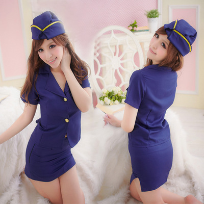 Sexy Stewardess Air Hostess Uniform Role Play Costumes Clothes image