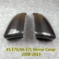 Um par de fibra de carbono real preto side mirror cover caps se encaixa para bmw x5 e70/x6 e71 original espelho retrovisor capa guarnição 2008-2013