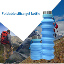 Portable Silicone Collapsible Water Bottle for Sports Outdoor Travel Telescopic Kettle Drink 550ml