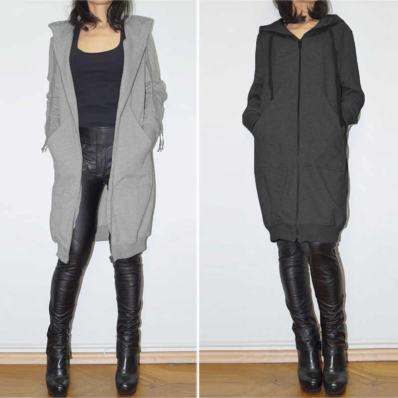 ZANZEA Plus Größe 5XL Frauen Hoodies Casual Feste Langarm Mit Kapuze Sweatshirt Weibliche Solide Taschen Zipper Up Sudaderas Outwear