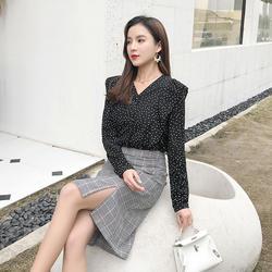 2019 новые осенние женские комплекты из двух предметов, модная повседневная рубашка в горошек с французским узором + клетчатая юбка, комплект