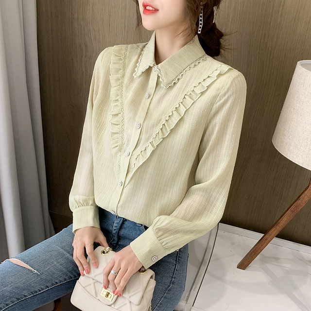 New Spring Ladies Doll Collar Shirt Long Sleeve Chiffon Shirt Fashion Lace Bottoming Shirt Ruffled Top Women Blouses 3