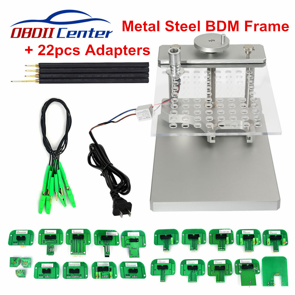 Stainless Steel LED BDM Frame 22pcs Adapter BDM Frame Metal Set With Probe Pins Adapters For Ktag KESS V2 BDM100 ECU Programmer